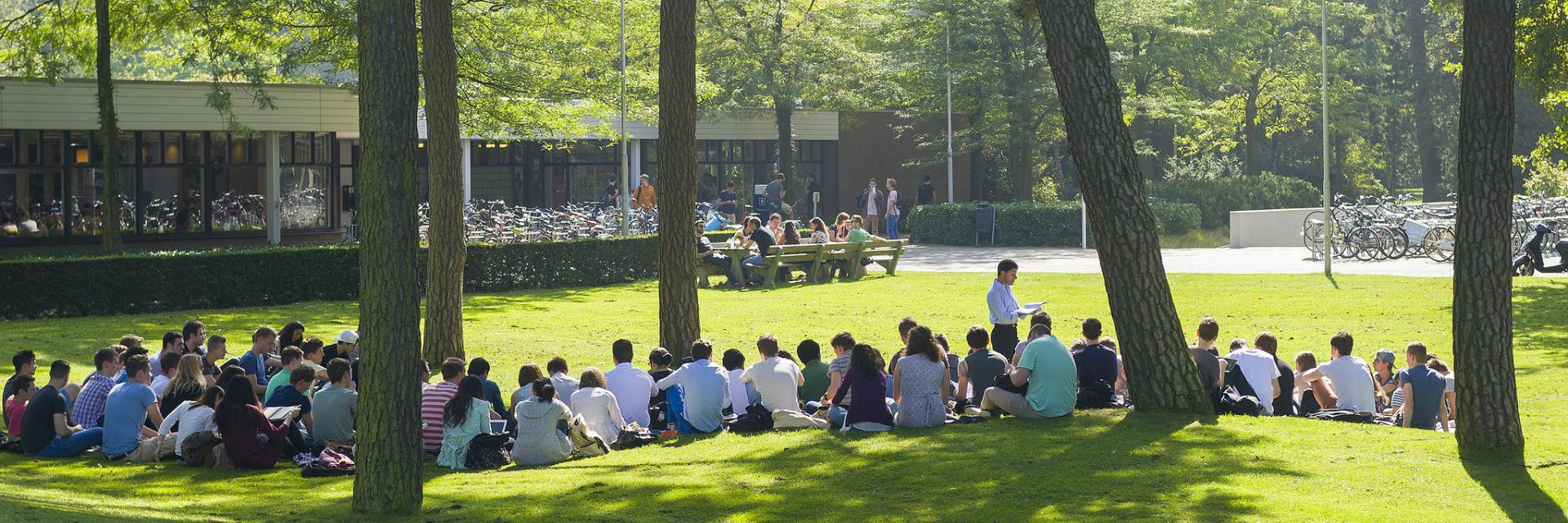 Students on campus enjoying the good weather