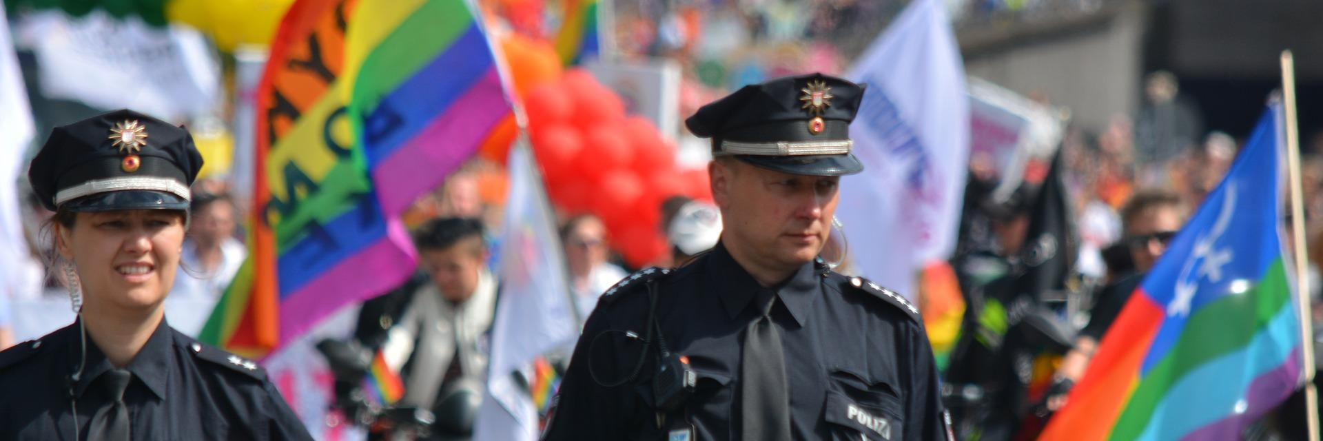 Police at gay pride parade