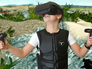 child playing VR game